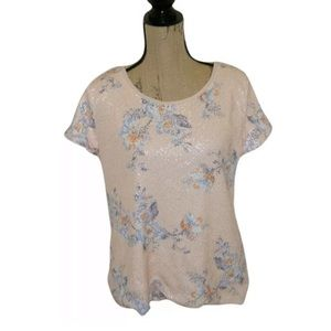 Peach Pink H & M Floral Sequin Top Shirt Medium